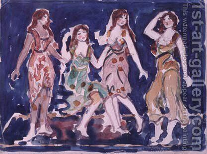 Four Dancers by Maurice Brazil Prendergast - Reproduction Oil Painting