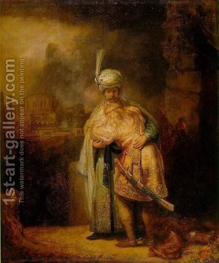 David and Jonathan by Rembrandt - Reproduction Oil Painting