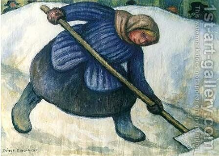 Mujer recogiendo La Nieve by Diego Rivera - Reproduction Oil Painting