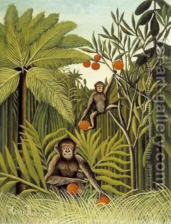 Two Monkeys in the Jungle by Henri Julien Rousseau - Reproduction Oil Painting