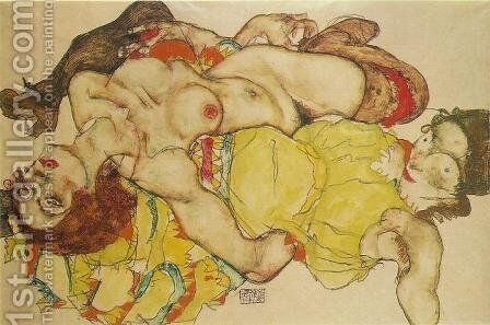 Two Women by Egon Schiele - Reproduction Oil Painting