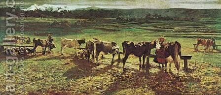 At The Fence by Giovanni Segantini - Reproduction Oil Painting
