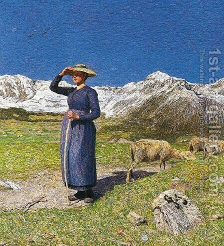 Noon in the Alps by Giovanni Segantini - Reproduction Oil Painting