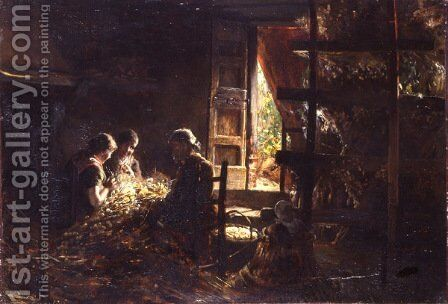 The Gathering of Silkworm Cocoons by Giovanni Segantini - Reproduction Oil Painting