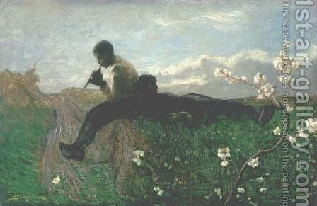 An Idyll by Giovanni Segantini - Reproduction Oil Painting