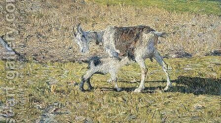 Goat with Offspring by Giovanni Segantini - Reproduction Oil Painting