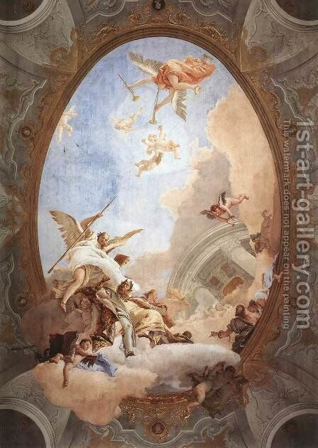 Allegory of Merit Accompanied by Nobility and Virtue by Giovanni Battista Tiepolo - Reproduction Oil Painting