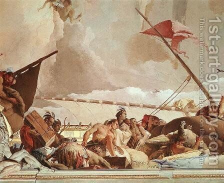America, detail of Glory of Spain by Giovanni Battista Tiepolo - Reproduction Oil Painting