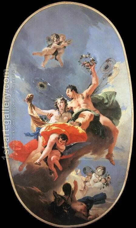 The Triumph of Zephyr and Flora by Giovanni Battista Tiepolo - Reproduction Oil Painting