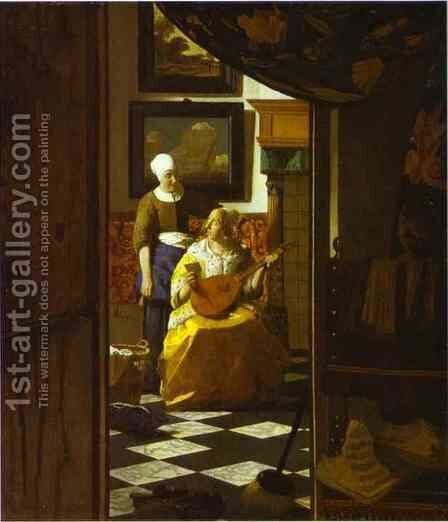 The Letter by Jan Vermeer Van Delft - Reproduction Oil Painting