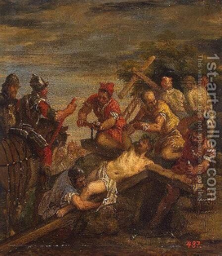 Nailing to the Cross by Paolo Veronese (Caliari) - Reproduction Oil Painting