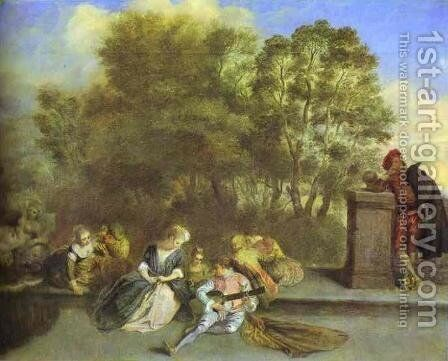 Recreation Italienne by Jean-Antoine Watteau - Reproduction Oil Painting