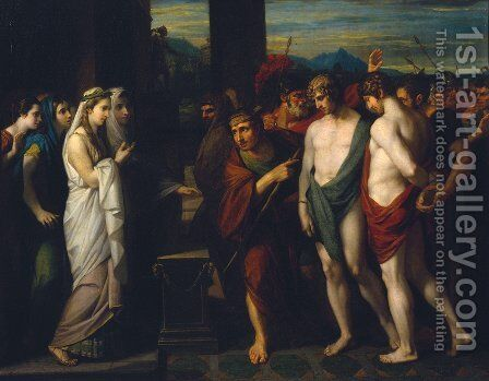 Pylades and Orestes Brought as Victims before Iphigenia by Benjamin West - Reproduction Oil Painting