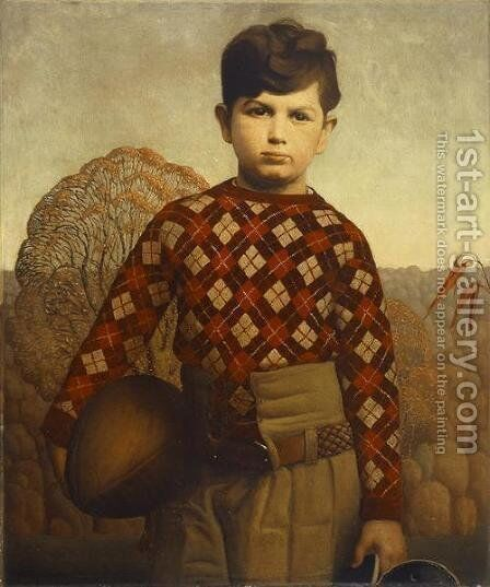 Plaid Sweater by Grant Wood - Reproduction Oil Painting