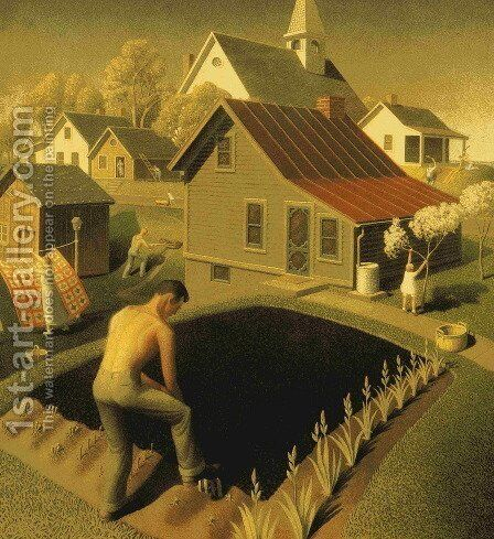 Spring in Town by Grant Wood - Reproduction Oil Painting