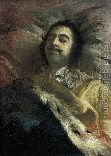 Peter I 1672-1725 the Great on his Deathbed 1725 by Ivan Nikitich Nikitin - Reproduction Oil Painting