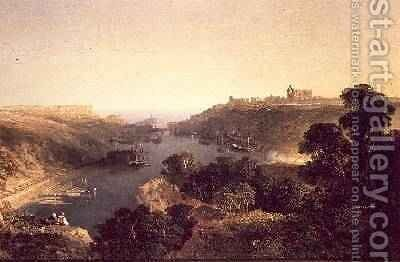 View of Whitby by Edmund John Niemann, Snr. - Reproduction Oil Painting