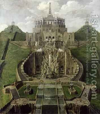 View from the Riesenkopf Basins to the Octagon after 1716 by Jan van Nickelen - Reproduction Oil Painting