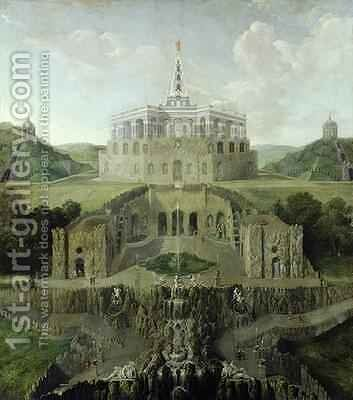 View from the Riesenkopf Waterfalls over the Distorted Water-grotto to the Octagon after 1716 by Jan van Nickelen - Reproduction Oil Painting