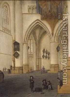 View of the south ambulatory of the church of St Bavo Haarlem by Isaak Nickelen - Reproduction Oil Painting