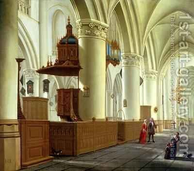 Views of the north and south aisles of the church of St Bavo Haarlem by Isaak Nickelen - Reproduction Oil Painting