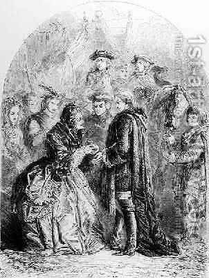 Mrs Skyring Welcoming the Young Pretende by J. H. Nicholson - Reproduction Oil Painting