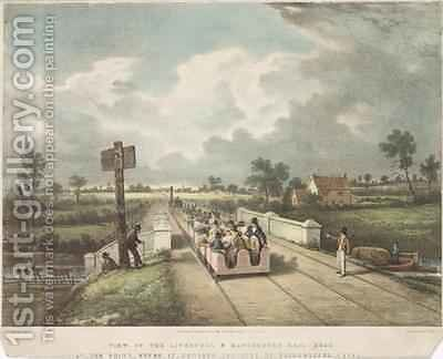 View of the Liverpool and Manchester Rail Road at the Point Where it Crosses the Duke of Bridgewaters Canal by (after) Nicholson, F. - Reproduction Oil Painting