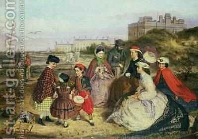 A Victorian Family at the Seaside by Charles Wynee Nicholls - Reproduction Oil Painting