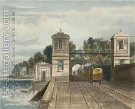 Dublin and Kingstown Railway Granite Pavilions and Tunnel Entrance at Lord Cloncurrys Demesne of Maratimo near Blackrock Kingstown Harbour in the Distance by Andrew Nicholl - Reproduction Oil Painting