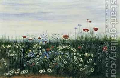 Poppies Daisies and other Flowers by the Sea by Andrew Nicholl - Reproduction Oil Painting