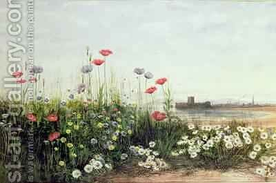Bank of Summer Flowers by Andrew Nicholl - Reproduction Oil Painting