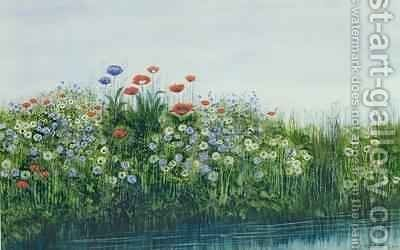 Poppies by a Stream by Andrew Nicholl - Reproduction Oil Painting