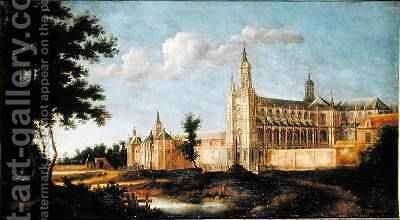 View of the Abbey of Saint-Amand-les-Eaux by Jean Francois Neyts - Reproduction Oil Painting