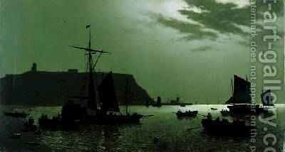Scarborough Castle Hill and Harbour by Moonlight 1876 by H. P. Newmanns - Reproduction Oil Painting
