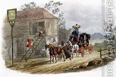 A Lazy Horsekeeper for the Mail by (after) Newhouse, Charles B. - Reproduction Oil Painting