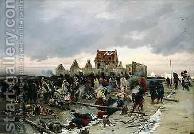 Bivouac at Le Bourget after the Battle of 21st December 1870 1872 3 by Alphonse Marie de Neuville - Reproduction Oil Painting