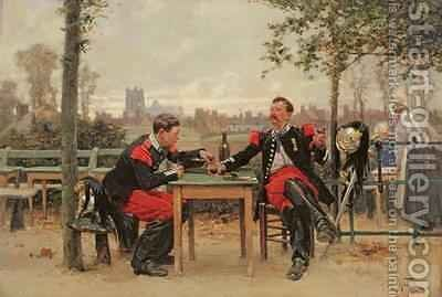 The Commanders Feast 1875 by Alphonse Marie de Neuville - Reproduction Oil Painting