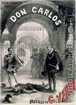 Poster advertising Don Carlos by Alphonse Marie de Neuville - Reproduction Oil Painting