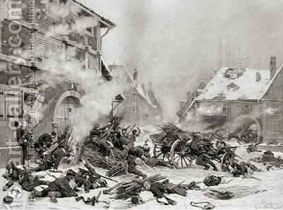 Fire Attack on a Barricaded House by Alphonse Marie de Neuville - Reproduction Oil Painting