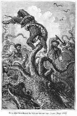 The Octopus Attacking the Nautilus by Alphonse Marie de Neuville - Reproduction Oil Painting