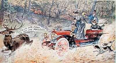 Blast Im Done For They Have a Mercedes 1906 by Maurice Louis Henri Neumont - Reproduction Oil Painting