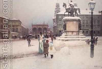 The Odeonsplatz in Munich at Wintertime 1892 by Hermann Neuber - Reproduction Oil Painting