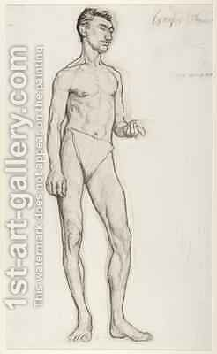 A Study of a Male Nude Figure 1895 by Ida Margaret Nettleship - Reproduction Oil Painting