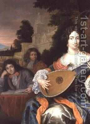 A Woman playing a Lute with her two sons behind her by Constantin Netscher - Reproduction Oil Painting