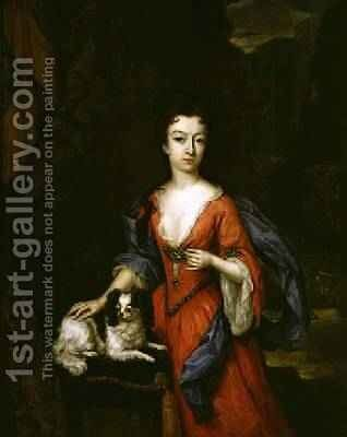 Portrait of a Lady with a Dog 1706 by Constantin Netscher - Reproduction Oil Painting