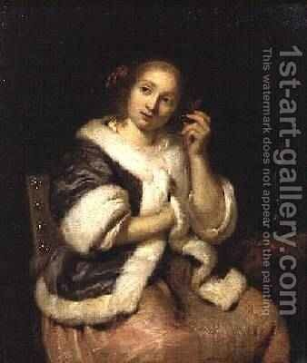 Lady with a Watch 1670 by Caspar Netscher - Reproduction Oil Painting
