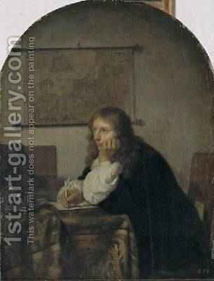 Man Writing a Letter 1665 by Caspar Netscher - Reproduction Oil Painting