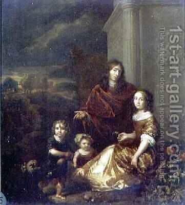 The Artists Family 1664 by Caspar Netscher - Reproduction Oil Painting