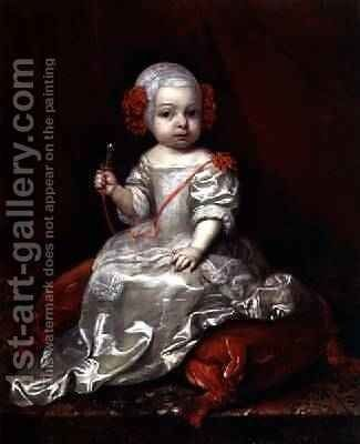 Portrait of a Young Girl by Caspar Netscher - Reproduction Oil Painting