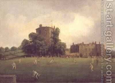 First Australian team to visit England to play a single innings cricket match against Willshers Gentlemen at Chilham Castle Kent August 1878 by William Andrews Nesfield - Reproduction Oil Painting